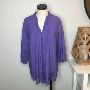 Coldwater Creek Eyelet Lace Popover Top 16 Purple
